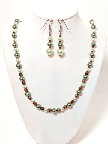 Sage Green Pearl necklace and earrings set
