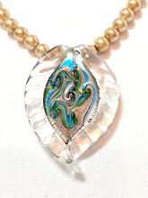 Load image into Gallery viewer, Golden Pearl and Murano Glass pendant necklace bracelet and earrings