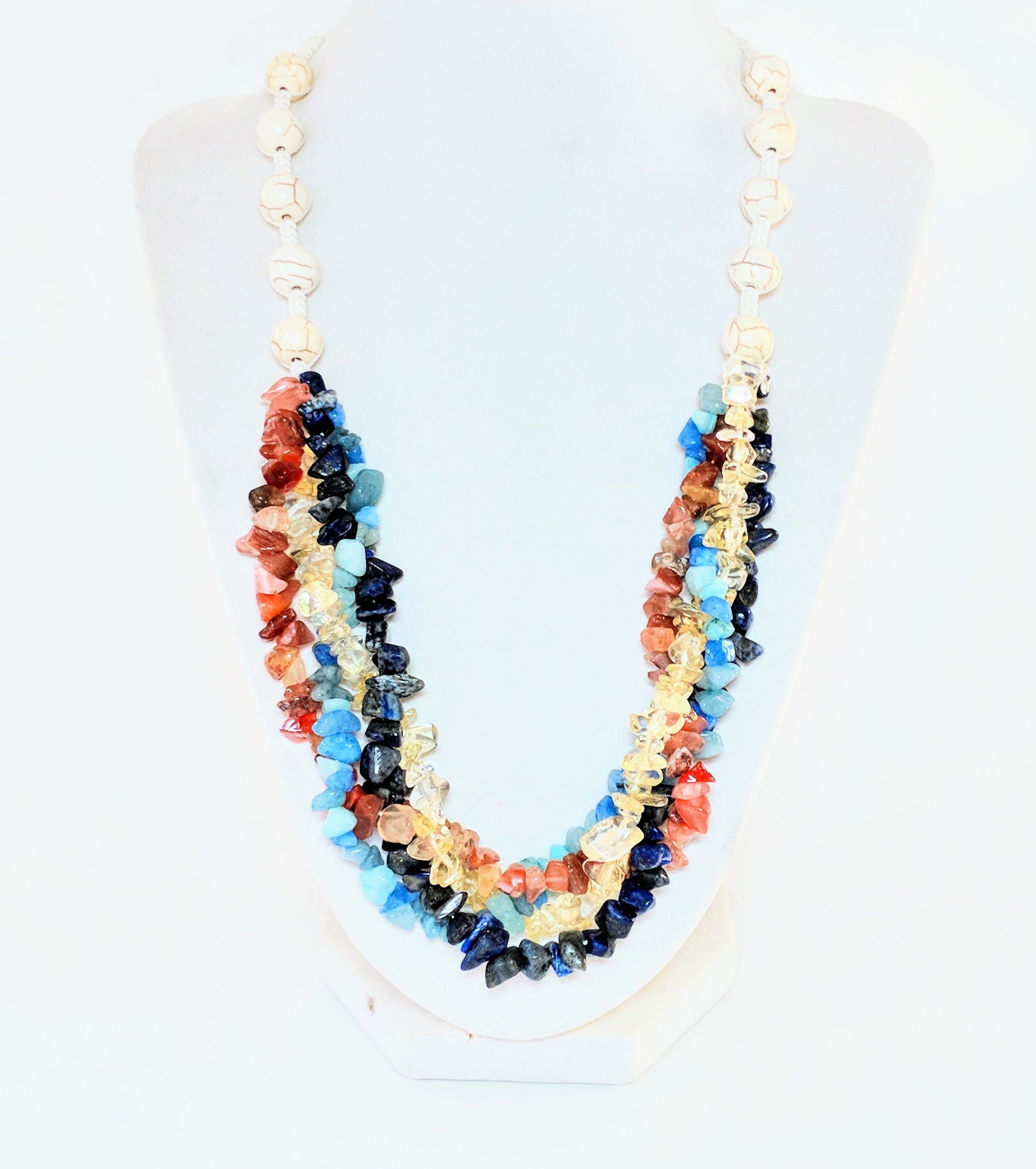 Hand-Knotted Hand-Braided Gemstone Chip and Macrame necklace