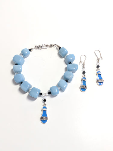 Blue Stone and Sandal bracelet and earrings set