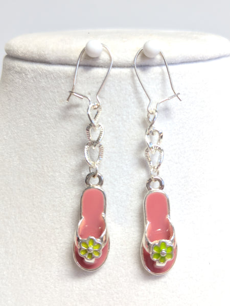 Pink Quartzite and Key Lime Green Glass Flowers beaded necklace and earrings set
