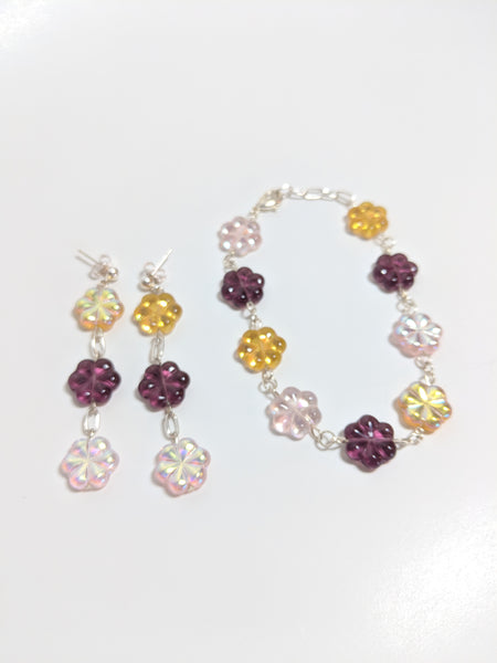 Purple, Pink and Yellow Aurora Borealis luster glass flower bracelet set