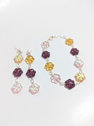 Purple, Pink and Yellow Glass Flower Bracelet Set