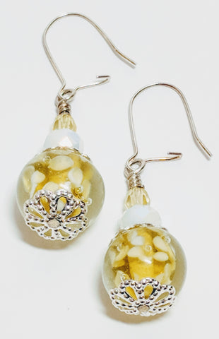 Yellow and White Glass drop earrings