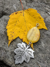 Load image into Gallery viewer, Yellow Jade drop and pewter leaf on bright yellow leaf