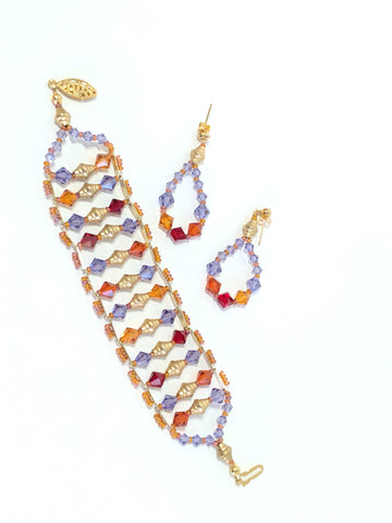 Multi-Colored, Swarovski Crystal, Bold Colors, Hypnotic Beaded bracelet and earrings