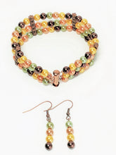 Load image into Gallery viewer, Fall Color Pearl Bracelet and Earrings