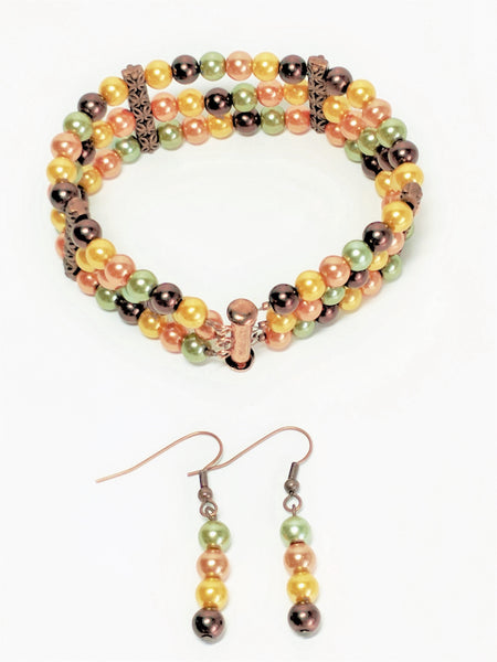 Autumn Inspired, Multi-Colored Pearl bracelet and earrings set