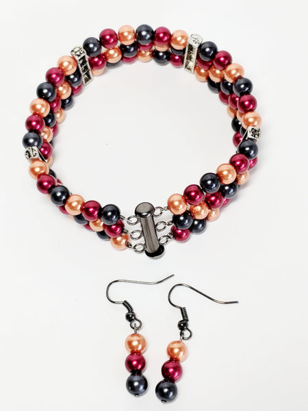Halloween inspired, Tri-Colored Pearl Bracelet and Earrings set