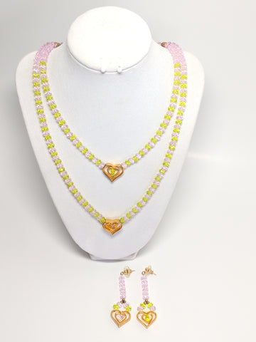 Pink and Green Faceted Glass Beaded necklace and earrings set