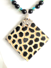 Load image into Gallery viewer, Obsidian and Leopard pendant necklace
