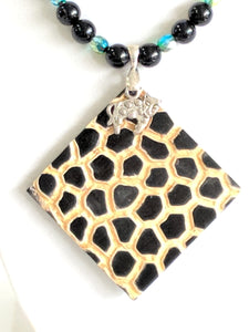 Obsidian and Leopard pendant necklace