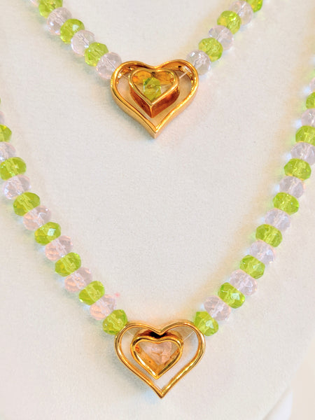 Pink and Peridot Two Strand Glass Beaded necklace and earrings