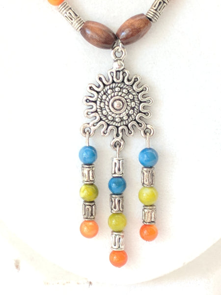 Mandala inspired, Multi-Colored River Shell and Wood Bead necklace and earrings