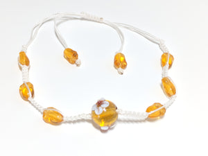 Amber Beads and white thread macrame adjustable bracelet
