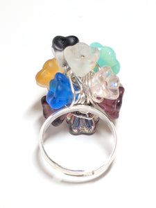 Multi-Colored, Wire Wrapped Glass Flower ring
