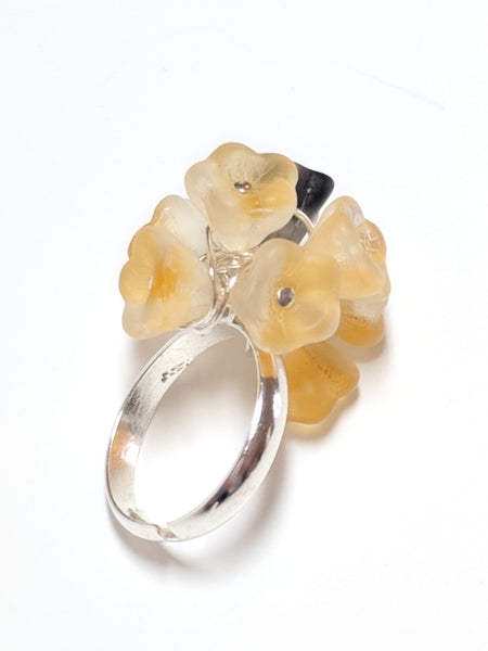Wire Wrapped Glass Flower ring