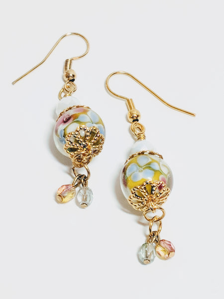 Hydrangea Lamp-worked glass drop earrings