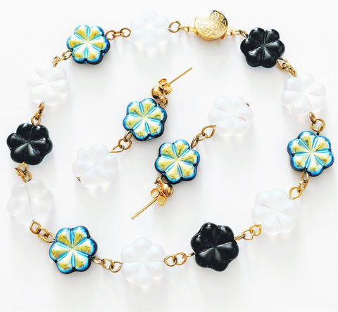 Black and White Flower Luster bracelet/anklet and earrings