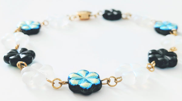Black and White Glass Flower bracelet/anklet and earrings set