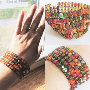 Czech Glass Beaded Bracelet - Autumn
