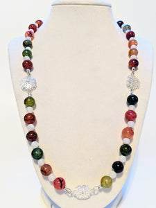 Red and Green Agate Holiday Beaded Necklace