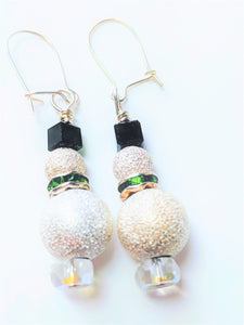 Silver Sparkle Snowman Earrings