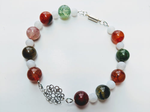 Red and Green Agate Holiday Bracelet