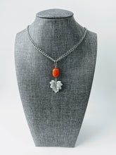 Load image into Gallery viewer, Gemstone and Pewter Leaf Pendant Necklace