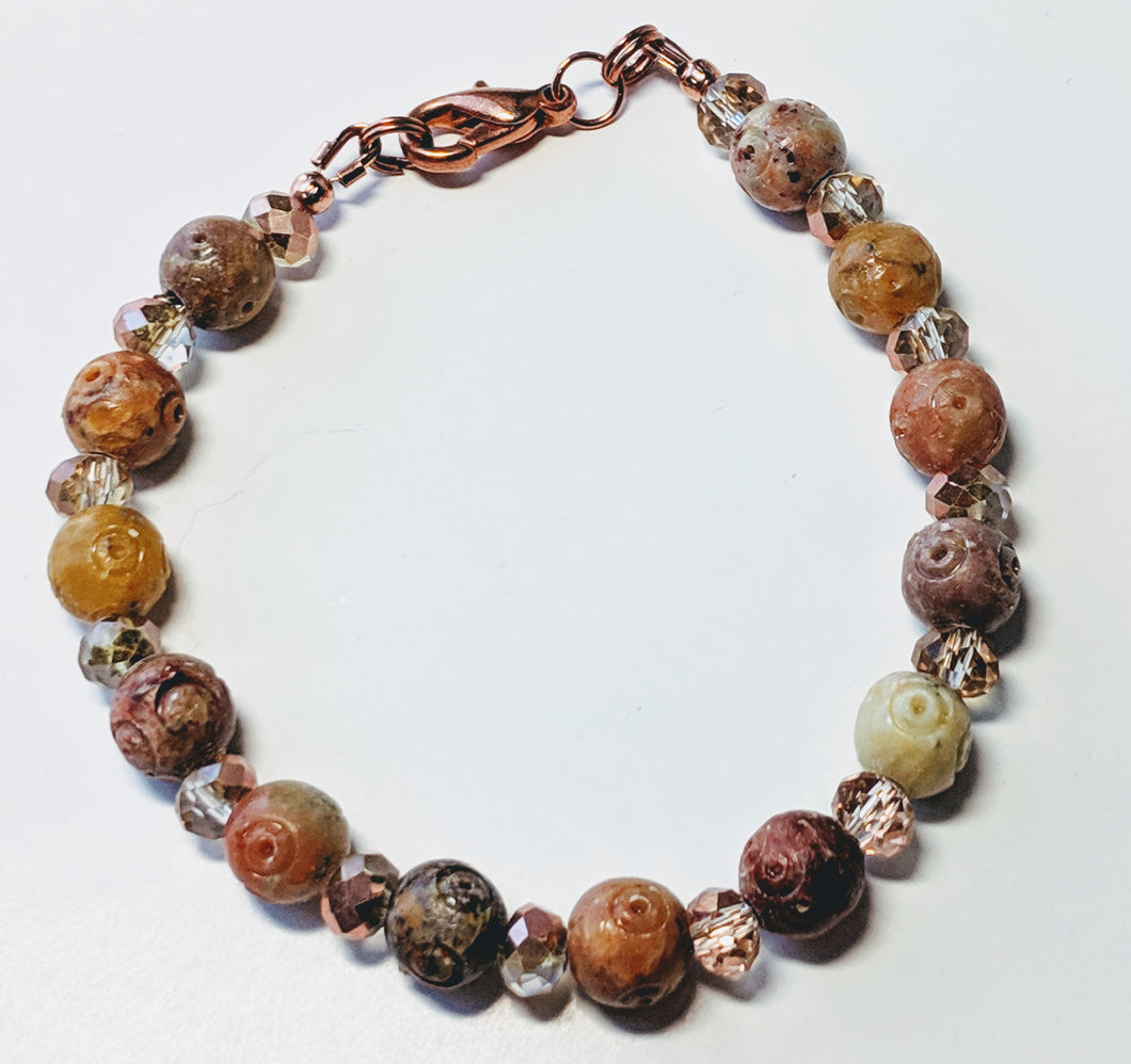 Soapstone and Czech glass beaded bracelet