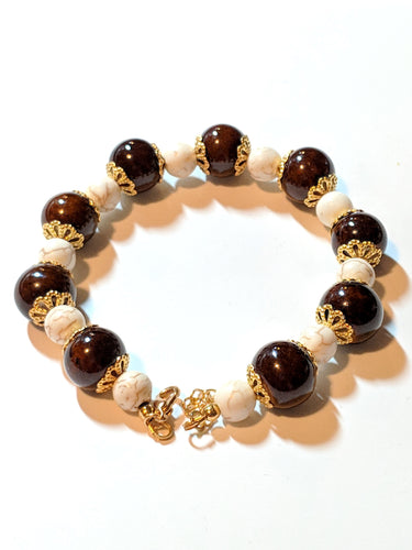 Coffee with Cream Beaded Bracelet