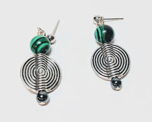 Malachite and Spiral earrings