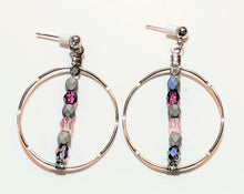 Load image into Gallery viewer, Czech Glass Rhodium Large Hoop Earrings