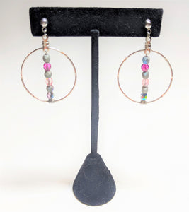 Czech Glass Rhodium Large Hoop Earrings