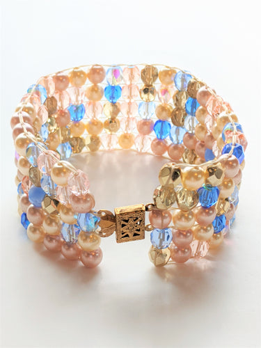 Czech Glass and Pearl Beaded Bracelet - Cinderella