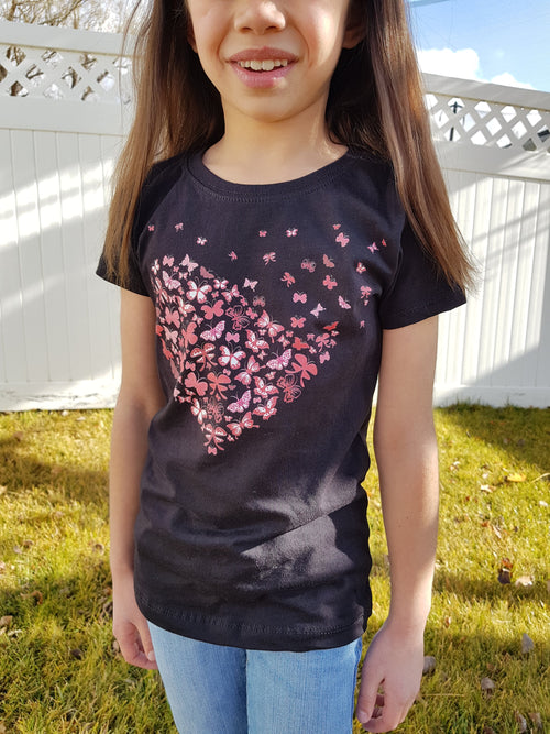 Butterfly Hearts Girl's T-Shirt