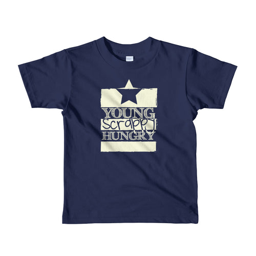 "Navy blue ""young scrappy hungry"" kids t-shirt"