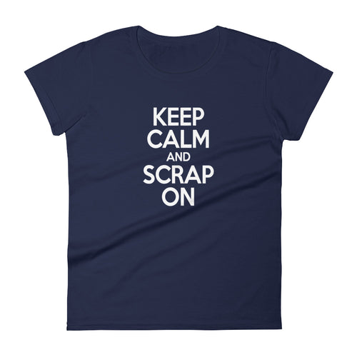 Keep calm and scrap on blue t-shirt