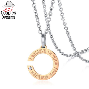 """I Belive In Your Love Forever"" Couple Necklace"