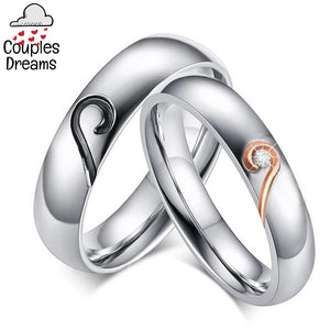 Silver Heart Couple Rings