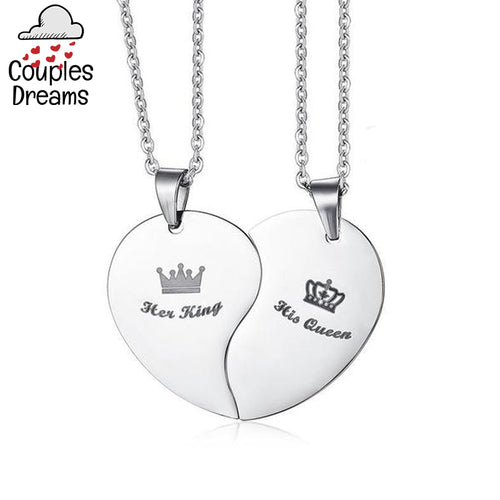 Her King & His Queen Heart Couple Necklace