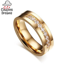 Gold Cubic Zircon Couple Rings Set