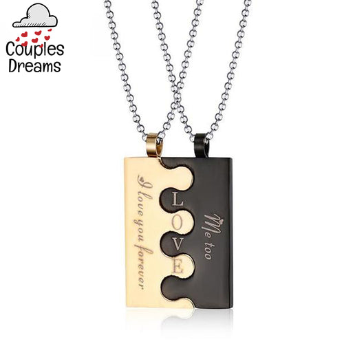 Engraved Love Puzzle Couple Necklace