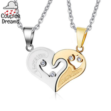 """I Love You"" Heart Couple Necklace"
