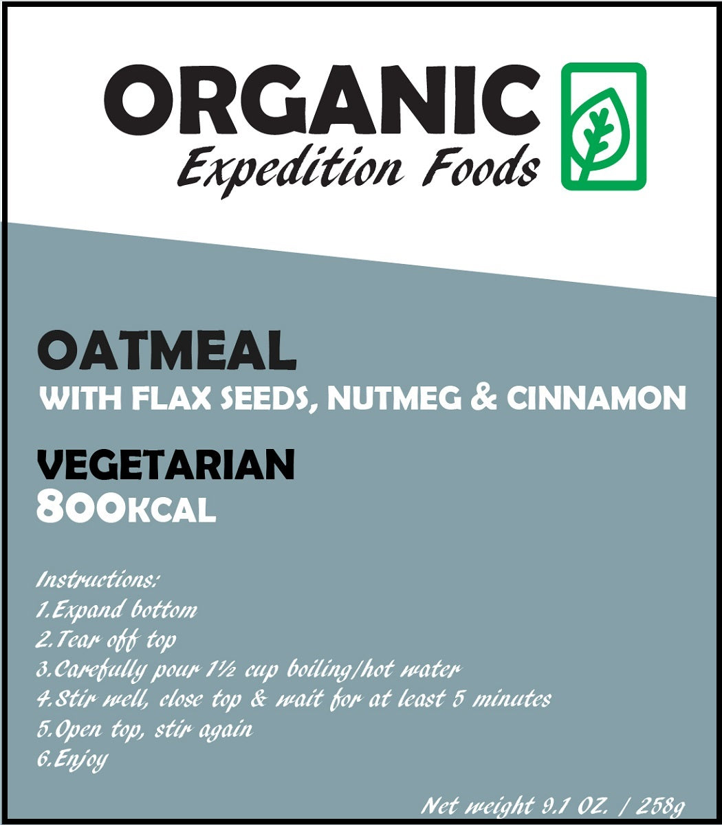 OATMEAL with Flax Seeds, Nutmeg & Cinnamon - 400 or 800kCal