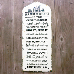 Barn Rules Tin Sign