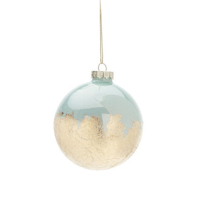 Glass Ball Ornament Blue with Gold Lleaf