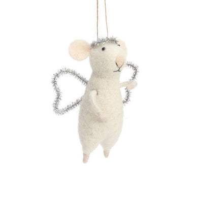 White Angel Mouse Ornament