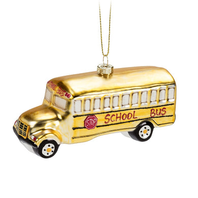 Yellow Schoolbus Ornament blown glass