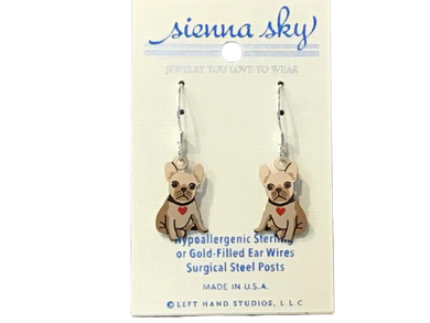 Earrings Bulldog Puppy with Heart Collar